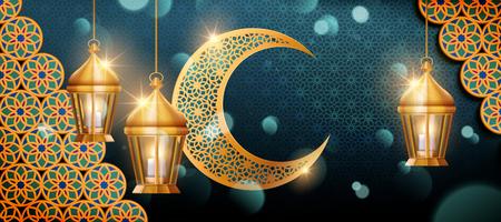 Eid mubarak banner design con decorazioni arabesche, lanterne appese e mezzaluna