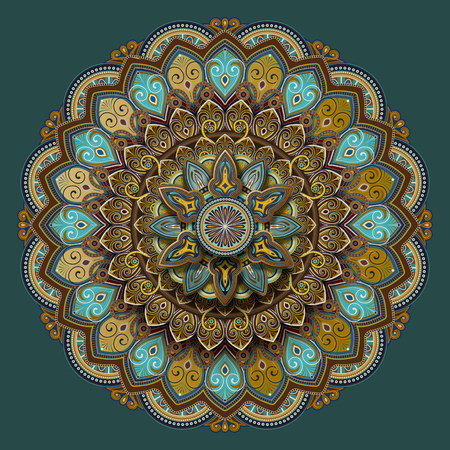 Flower motif pattern design in turquoise and earth tone  イラスト・ベクター素材