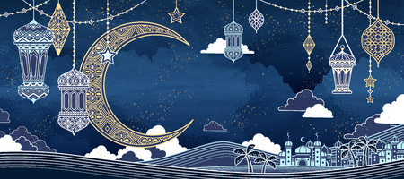 Islamic line style background with mosque and big crescent in night desert