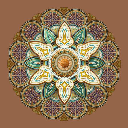 Conception de modèle de motif de fleur dans le ton de la terre Vecteurs