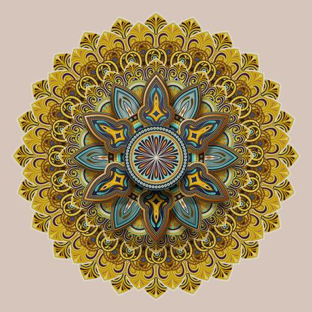 Flower motif pattern design in earth tone