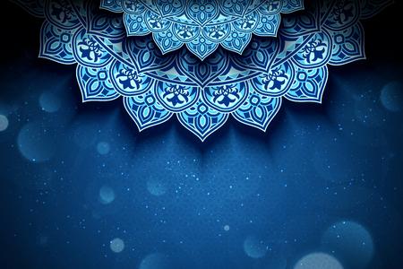 Blauer Arabeskenblumenhintergrund mit Glitzerbokeh-Effekt