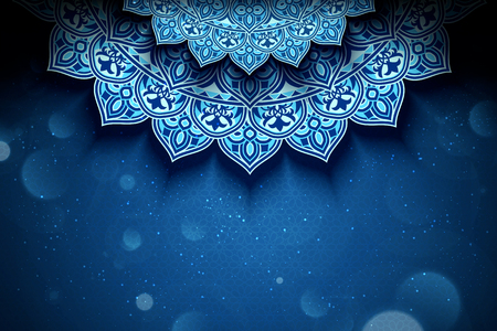 Blue arabesque flower background with glitter bokeh effect