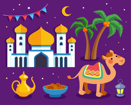 Lovely arabic culture symbol with camel, mosque, palm tree and water jug on purple background in flat design