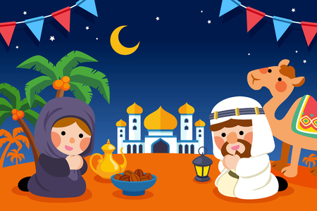 Cute muslims praying together in flat design