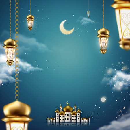 Magical mosque scene and fanoos hanging in the air on starry night
