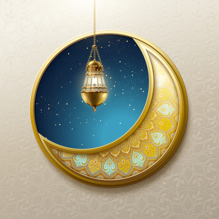 Crescent moon and hanging fanoos design element