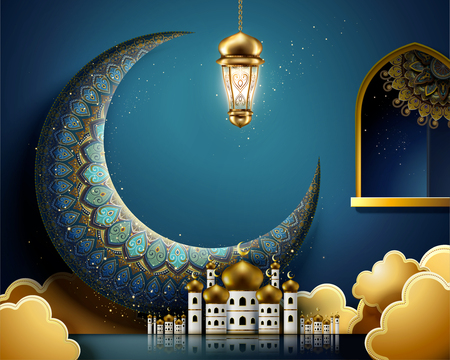 Giant arabesque moon and mosque on blue background