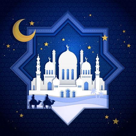 Beautiful night mosque in paper art style