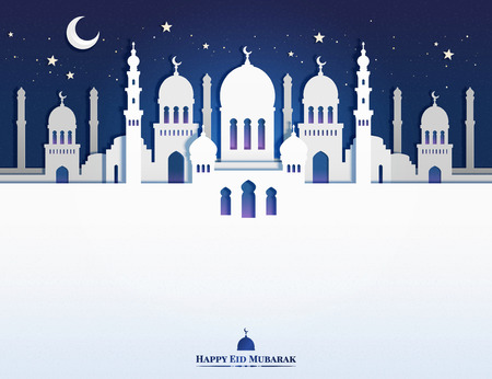 Eid mubarak paper art design with beautiful white mosque