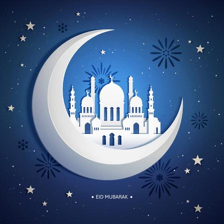 Eid mubarak paper art design with mosque upon giant moon
