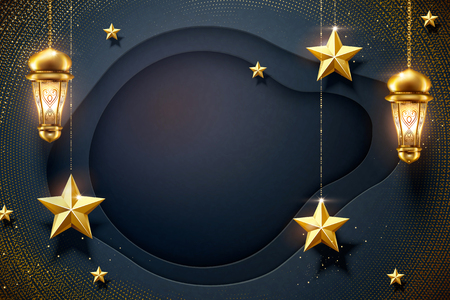 Dark blue paper background with hanging golden star and fanoos Stok Fotoğraf - 122169172