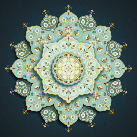 Light turquoise arabesque mandala floral pattern on dark blue
