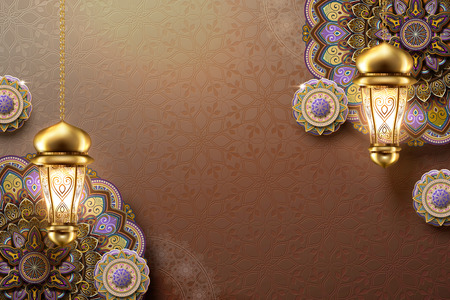 Elegant arabesque flower and hanging lanterns on brown background Vettoriali