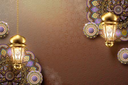 Elegante Arabeskenblume und hängende Laternen auf braunem Hintergrund