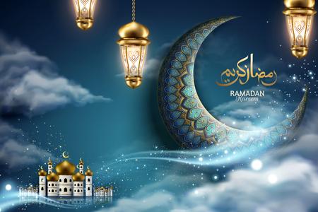 Vacaciones generosas escritas en caligrafía árabe RAMADAN KAREEM con media luna y mezquita en el cielo nocturno