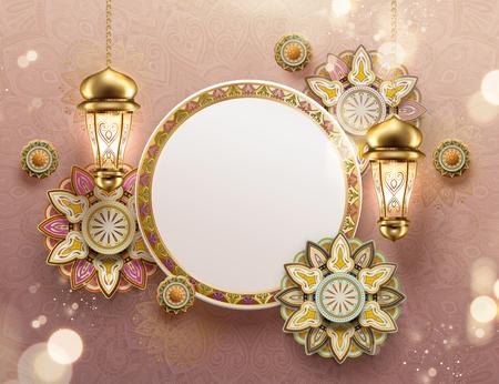 Eid mubarak arabesco fiori e fanoos con copia spazio su sfondo rosa
