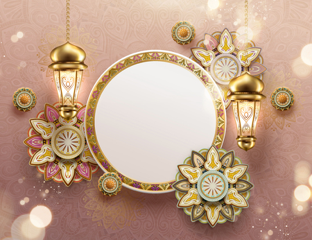 Eid mubarak arabesque flowers and fanoos with copy space on pink background