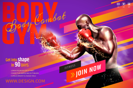 Professional boxer with fire punch for gym class on purple background in 3d illustration