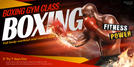 Professional boxer with fire punch for gym class in 3d illustration Vectores