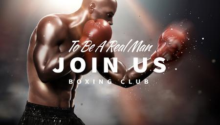 Boxeador fuerte lanzando un gancho en la ilustración 3d, fondo bokeh