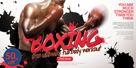 Boxing class ads with strong boxer throwing hook in 3d illustration, ink stain on white background Illustration