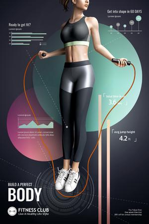 Gimnasio con chica delgada saltando la cuerda en cartel moderno