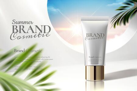 Annunci di tubi cosmetici su sfondo bianco trasparente con foglie di palma in illustrazione 3d