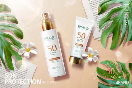 Sunscreen product laying on beach with tropical leaves in 3d illustration