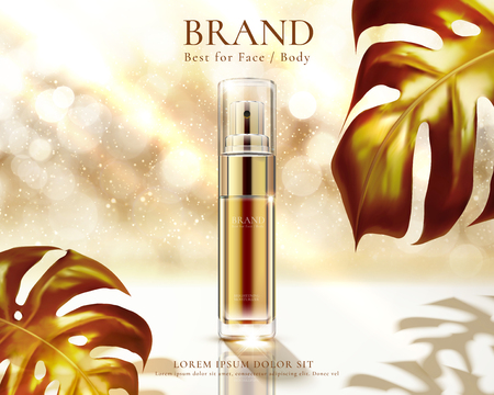 Cosmetic spray bottle ads on golden glittering bokeh background with foliage in 3d illustration