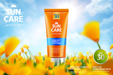 Orange sunscreen ads with product on beautiful bokeh yellow flower garden in 3d illustration