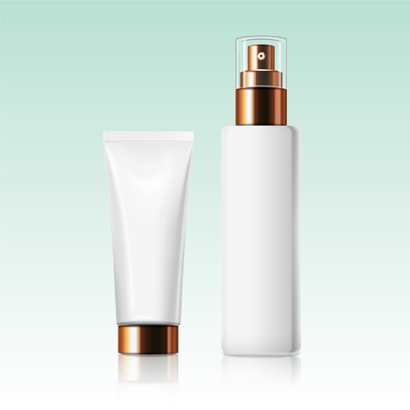 Blank white cosmetic bottle and tube in 3d illustration