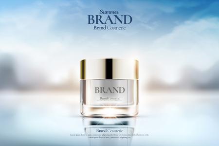 Cremeglas-Kosmetikanzeigen auf klarem Bokeh-Hintergrund in 3D-Darstellung