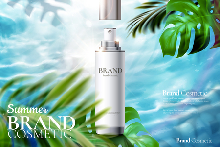 Cosmetic spray bottle ads on tropical foliage and swimming pool background in 3d illustration