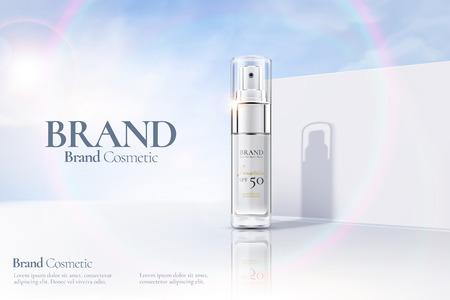 3d 그림에서 햇빛이 있는 흰색 투명 벽 배경에 화장품 스프레이 병 광고