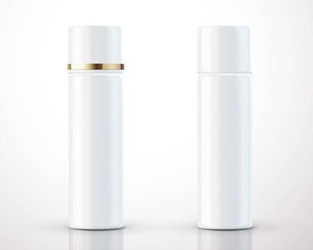 3Dイラストの背景に分離された白い化粧品ボトルパッケージ  イラスト・ベクター素材