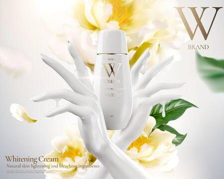 Anuncios de crema blanqueadora con mano blanca y flores en la ilustración 3d