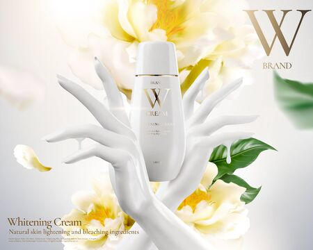 Publicités de crème blanchissante avec une main blanche et des fleurs en illustration 3d