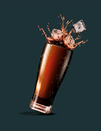 Splashing soft drink with ice cubes in 3d illustration