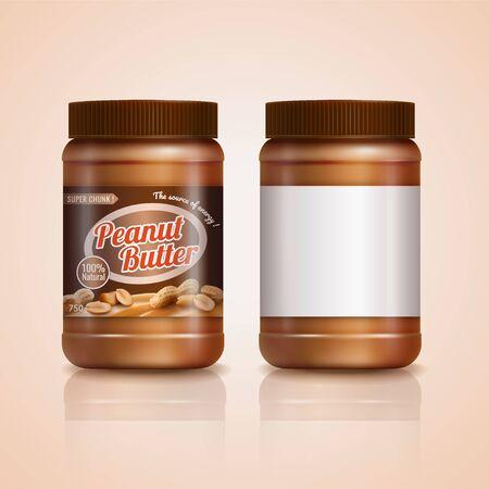 Modello di barattolo di burro di arachidi in illustrazione 3d