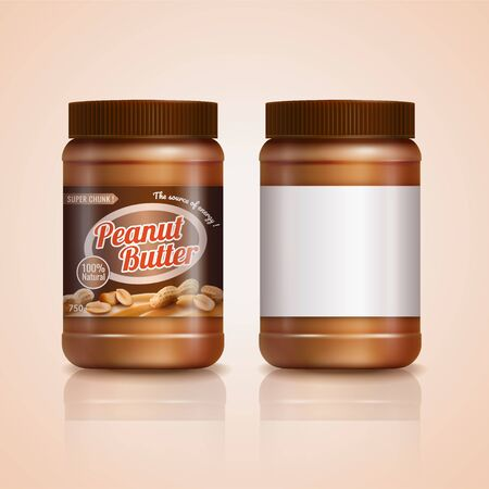 Peanut butter jar mockup in 3d illustration