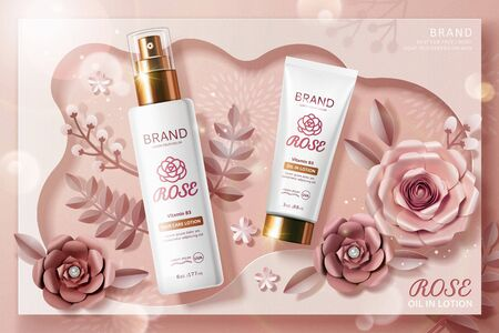 Rose lotion tube and spray bottle ads with paper flowers in 3d illustration, top view