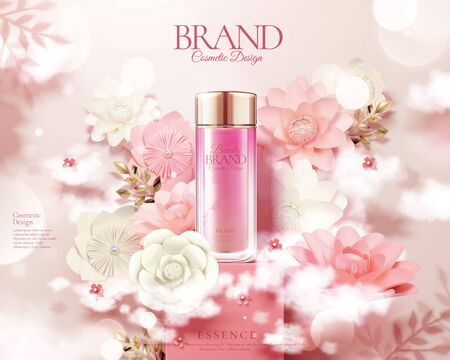 Pink skincare bottle ads with white and pink paper flowers in 3d illustration