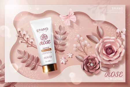 Rose lotion tube ads with paper flowers in 3d illustration, top view