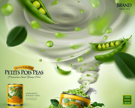 Canned young pea ads poster with tornado effect in 3d illustration