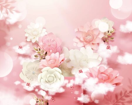 Pink and white paper flowers with stage and glitter bokeh background in 3d illustration