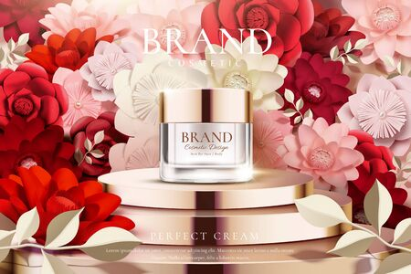 Cream jar on podium ads with beautiful paper flowers decoration in 3d illustration, pink and red tone