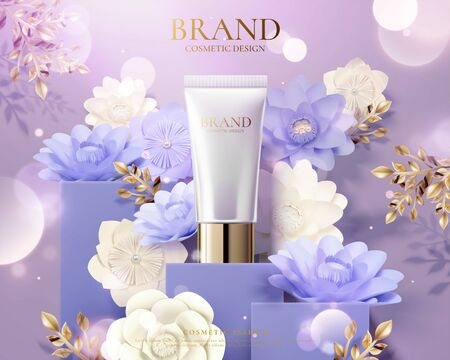 Plastic tube product ads with light purple paper flowers decoration and glitter effect in 3d illustration