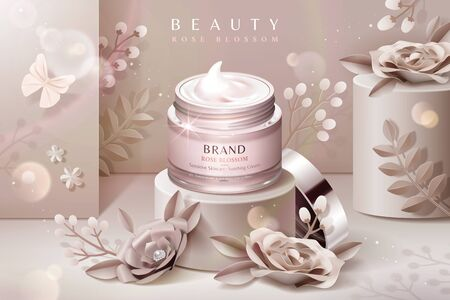 Cream jar ads on podium with pale pink paper flowers in 3d illustration Stok Fotoğraf - 127313178