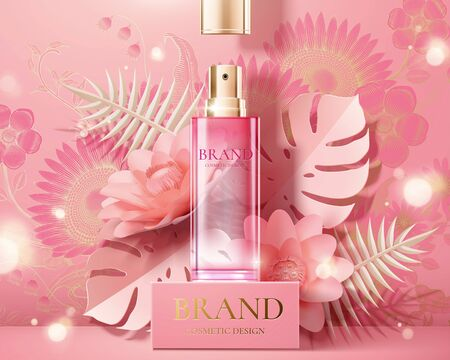 Spray bottle ads on square stage with pink paper flowers in 3d illustration 스톡 콘텐츠 - 127313194